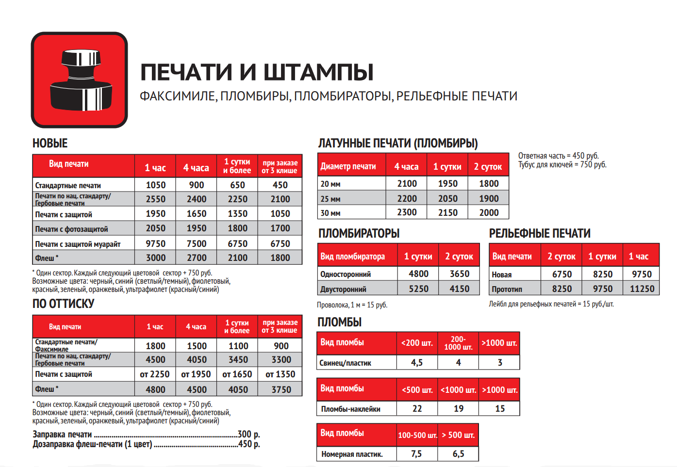 Стоимость печатей и штампов
